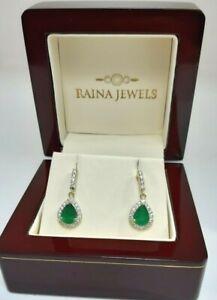 18Carat Yellow Gold Natural Emerald & Diamonds Pear  Earrings 0.54 carats
