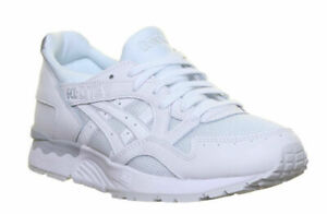 Men's Asics Gel Lyte V Unisex White Mono Leather Lace Up Trainers Shoes Running