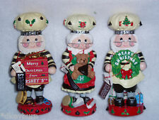 1998, 1999 & 2001 HERSHEY'S CHOCOLATE Collection Figurines  MERRY CHRISTMAS