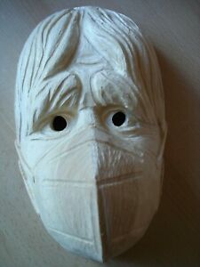 Maskenrohling Mann mit Mundschutz Corona , Fasnet, Rohling, Holzmaske Larve,