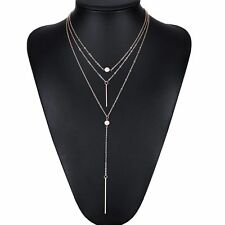 Silver Plated Three Layer Charm Bar Link Long Chain Pendent Necklace Statement