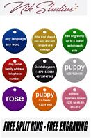 Pet ID Name Tag Tags Laser Engraved Dog Cat Paw Customised Personalised Round