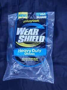 Playtex HandSaver Reusable Latex Antimicrobial Gloves XL Black Blue NOS Wear