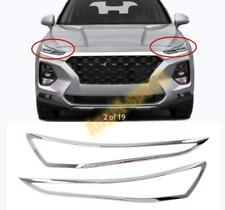 For Hyundai Santa Fe 2019 2020 ABS Chrome Headlight Front Light  Cover Trim 2pcs