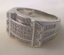 925 Sterling silver Men's simulated diamond ring cluster US size 11 Australian W