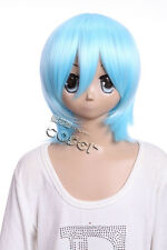 W-10-f8 Re: Zero REM Rei Ayanami hell-bleu 33 cm Cosplay Perruque Wig Cheveux Anime
