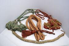LOT 3 PAIRES EMBRASSES de RIDEAUX ANCIENS pompons PASSEMENTERIE ANCIENNE SOIE
