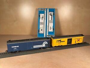 Marklin 4773 & 4776 HO - Conrail & Railbox Tin Plate Box Cars - Brand New