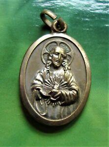 Vintage Holy Medal Sacred Heart and Virgo Carmeli Our Lady of Mount Carmel