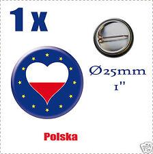 Badge Ø25mm Pays de l'europe des 28, drapeau en forme de coeur PL POLOGNE