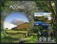 Portugal Landscapes Stamps 2016 MNH Azores Walking Mountains Lakes Nature 1v M/S