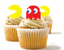 ✿ 24 Edible Rice Paper Cup Cake Toppings, Cake decs - Pac Man ✿