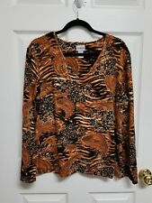 Chico's Size 3 Long Sleeve V Neck Black Brown Gold Pullover Top EUC