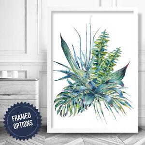 BLUE GREEN Botanical Leaf Fern Floral Art PRINT Poster