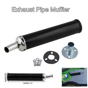 2 Stroke Motorcycle Exhaust Pipe Muffler Silencer Metal Black 280mm Universal