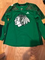Adidas NHL BLACKHAWKS ST. PATRICK'S DAY AUTHENTIC PRACTICE JERSEY Size 54 BNWOT