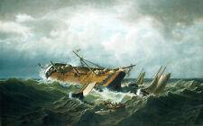 Oil painting Bradford shipwreck off nantucket (wreck off nantucket after a storm