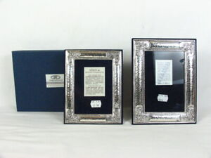 Vintage 2 Astron Pure Silver 950 Picture Frames Hammered Floral Made in Greece