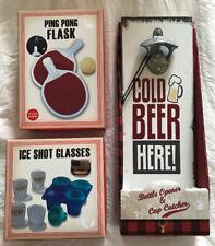 New Lot: Bottle Opener, Ping Pong Flask, Ice Shot Glasses