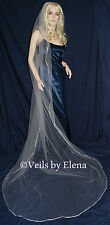 """Wedding Veil Cathedral SingleTier 72"""" Width 108"""" Length Ribbon Edge 28 Colors"""