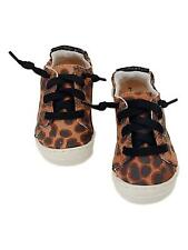 Toddler Girls Brown Leopard Print Sneakers Black Sparkle Tennis Shoes