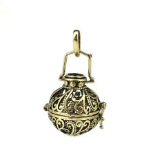 1PC Bronze Vine Grass Beads Cage Locket Pendant Essential Oils Diffuser B252