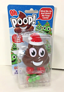 Flix OH POOP Wind Up COLLECTIBLE TOY Candy Dispenser Brown Poop Emoji SANTA Hat