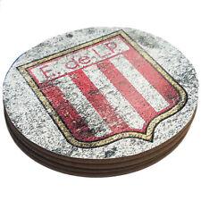 Four Round Coasters Glossy Custom Paint Effect Argentina Futbol Soccer League