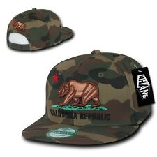Woodland Camo Camouflage California Republic Flat Bill Snapback Snap Cap Hat