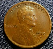 1913 D Lincoln Wheat Cent  ~   Key Year  Coin ~ Fine - Very Fine