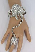 Women Egyptian King Pharaoh Bracelet Hand Chain Fashion Slave Ring Silver Crown