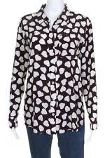 Equipment Femme Womens Silk Heart Print Button Down Blouse Brown Size S