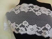 Französische elastische Spitze,Spitzenborte,Lace creme , wollweiß 18cm breit