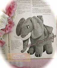 Vintage Toy Knitting Pattern Instructions, 'Ernie' Elephant. JUST £1.99 FREE P&P