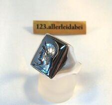 alter Hämatit Siegelring mit Intaglio 935 Silber Ring Herrenring / AX 698