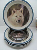 "National Wildlife Federation Wolf 10 1/4"" Dinner Plates Set Of 4 Plates   EC"