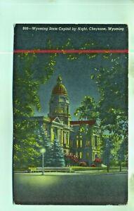 Wyoming State capitol by night Cheyenne WY USA unused postcard
