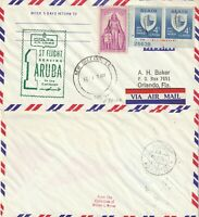 US 1961 DELTA AIRWAYS FIRST FLIGHT NEW ORLEANS TO ARUBA FLOWN COVER