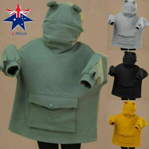 Frog Kawaii Clothing Frog Hoodie Sweatshirt Harajuku Funny Head Green Ulzzang AU