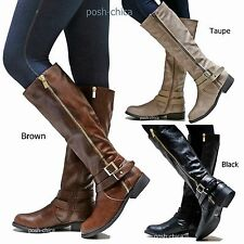 613e76b91a9 New Women Bpt4 Black Brown Taupe Riding Knee High Boots sz 6 to 11