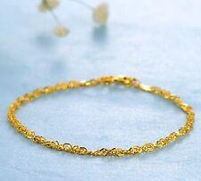 New 999 24K Yellow Gold Women's  Best Gift Singapore Chain Bracelet 6.7''/2-2.3g