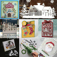 Christmas House Village Metal Cutting Dies Tree Santa Stencil Craft Cards Making