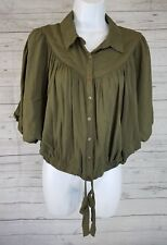 Free People Womens Crop Top Sz Small Green Button Front Batwing Rayon