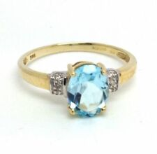 Topaz Heating Solitaire with Accents Fine Rings