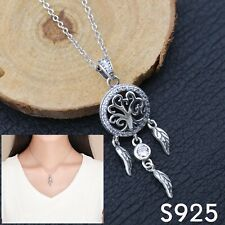 Sterling Silver Tree of Life Dream Catcher S925 Pendant Necklace for Ladies