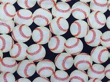 "Boys Girls Baseballs on Blue Sports Valance 42"" x 14"""
