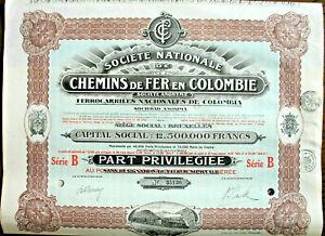 Lot 10 x Chemins de Fer en Colombie Brüssel 1927 Kolumbien Eisenbahn hist. Aktie
