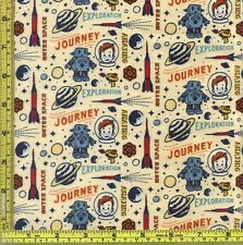 Boy in Space Rocket Age Riley Blake Cream FLANNEL Cotton Fabric BTQY 22.5 cm