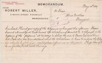 Memorandum From Robert Miller 1889 Piccadilly Manchester to May Port Ref 35882