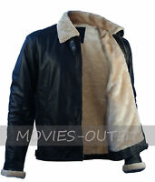 Mens Black Sheepskin Jet Pilot Winter Fur Leather B3 Bomber Aviator Jacket